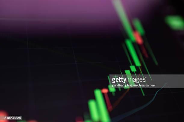 close up growth candle graph on digital screen. - charity benefit fotografías e imágenes de stock
