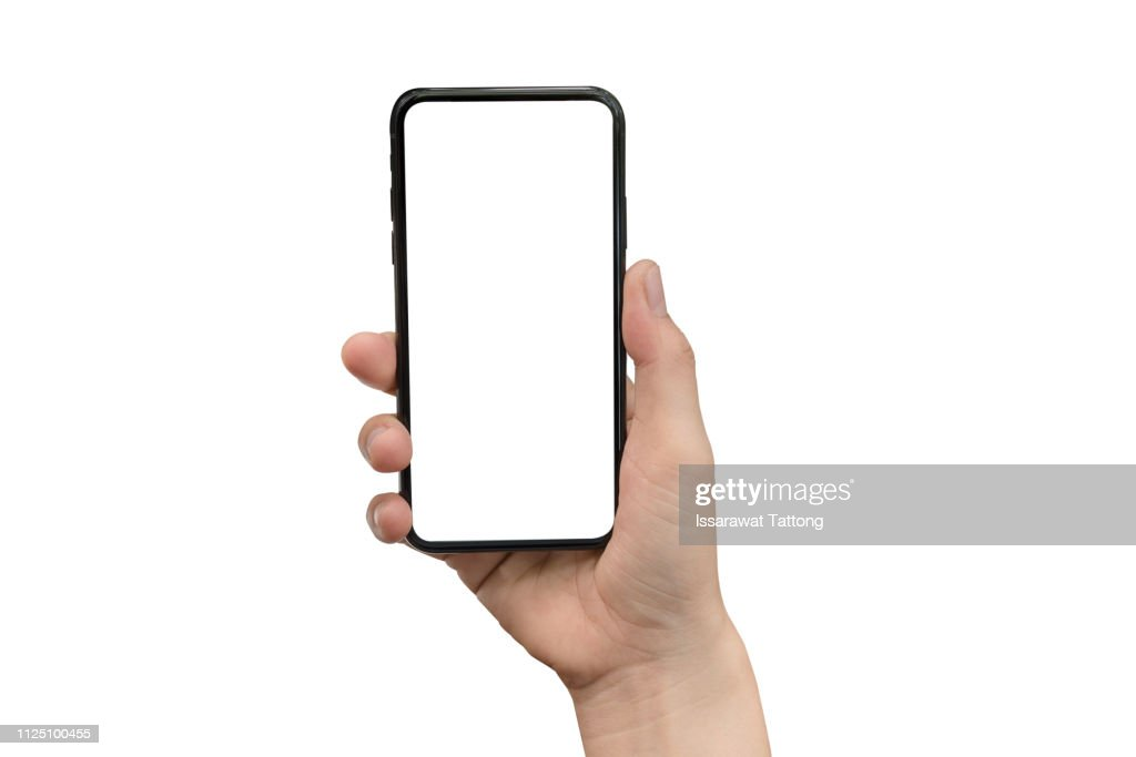 close up hand hold phone isolated on white, mock-up smartphone white color blank screen : Stockfoto