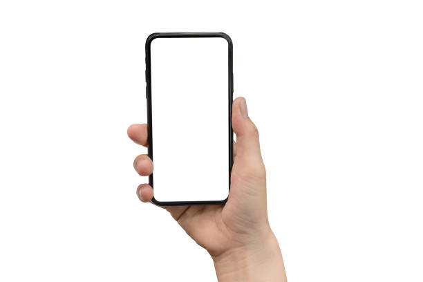 close up hand hold phone isolated on white, mock-up smartphone white color blank screen - human hand stock pictures, royalty-free photos & images