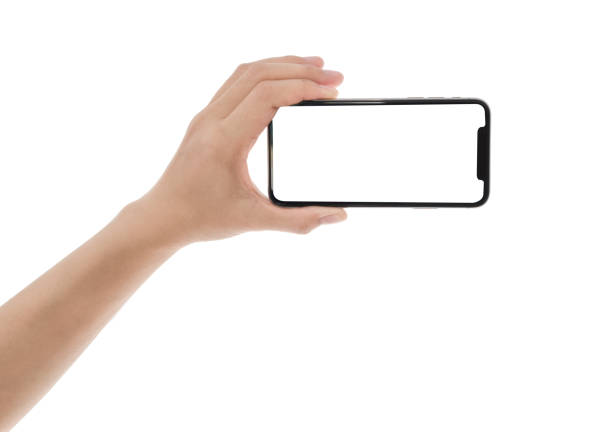 close up hand hold phone isolated on white, mock-up smartphone white color blank screen - horizontal stock pictures, royalty-free photos & images