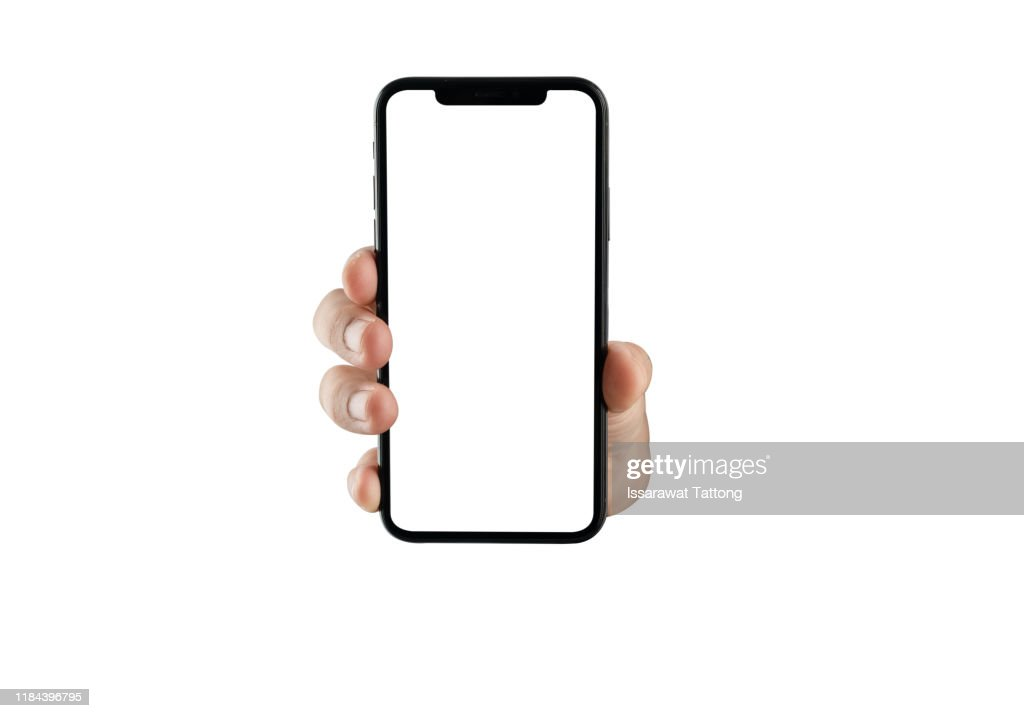 close up hand hold phone isolated on white, mock-up smartphone white color blank screen : Photo