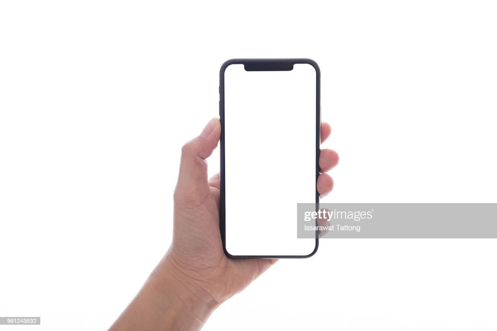 close up hand hold phone isolated on white, mock-up smartphone white color blank screen : Foto de stock