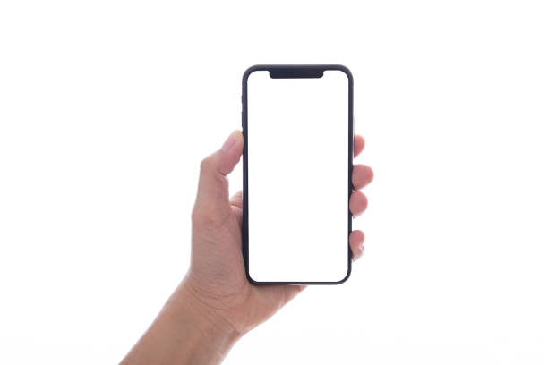 close up hand hold phone isolated on white, mock-up smartphone white color blank screen - hand stock pictures, royalty-free photos & images