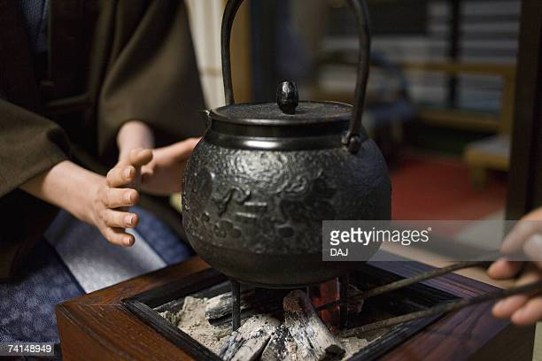 Close Up Image of an Iron Kettle at the Fireplace, Close Up, Differential Focus