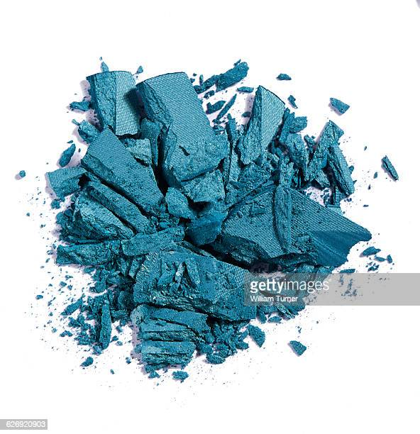 A close up image of blue eye shadow makeup.