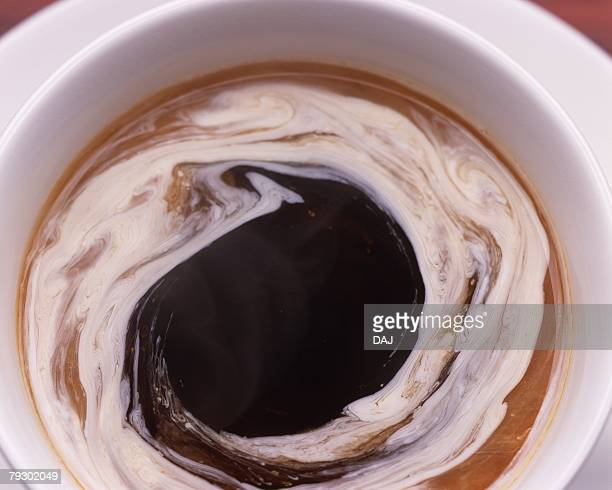 Close Up Image of Brend Coffee with Vortex Milk, High Angle View, Close Up, Full Frame