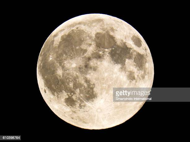 Close up image of full moon as seen in the Northern Hemisphere