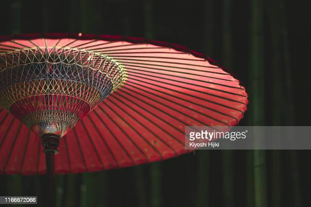 close up image of red japanese umbrella against bamboo forest at night - オータムインターナショナル ストックフォトと画像