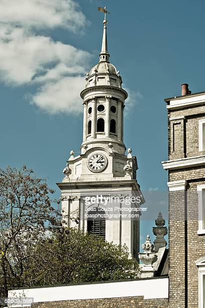 Close up image of the St Alfege Church Tower, Greenwich, London.