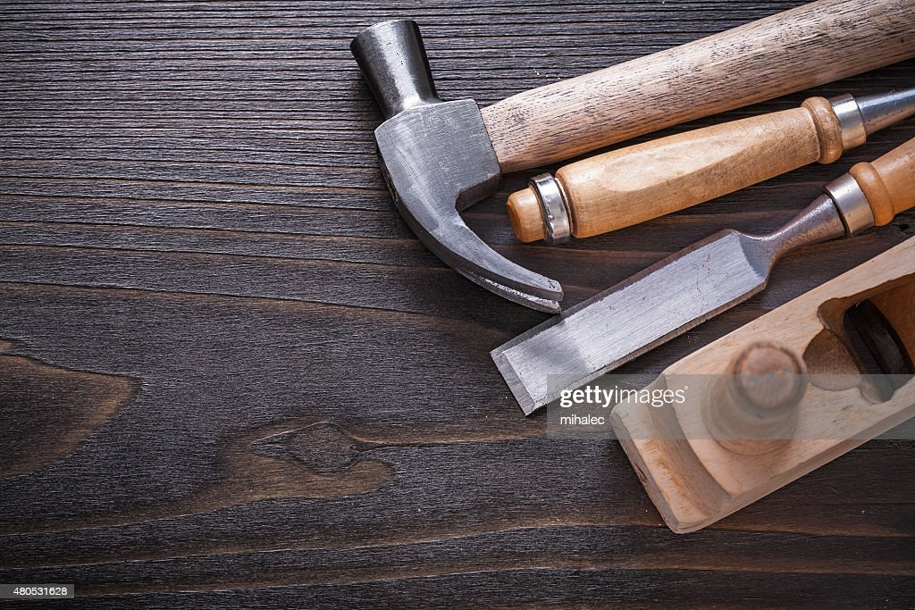 Close up image of woodworker's tools on vintage wooden : Stock Photo