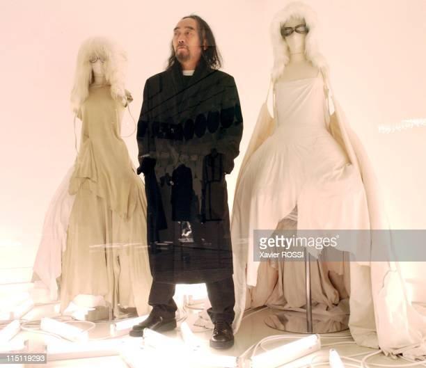 Close up Japanese designer Yohji Yamamoto in Paris, France on April 12, 2005 - Designer Yohji Yamamoto.