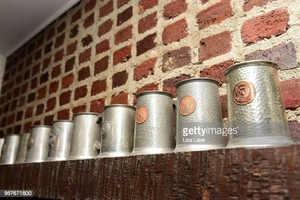 Close up John B Kelly heirloom beer mugs found in Kelly bar basement of newly renovated Princess Grace Kelly of Monaco's Childhood Home in...