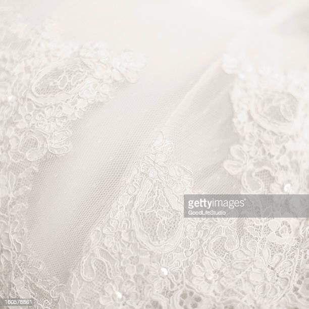 close up lace detail, wedding dress pattern - frilly stock photos and pictures