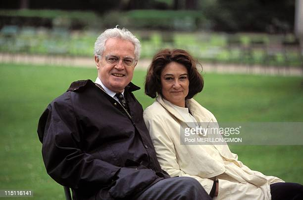 Close Up Lionel and Sylviane Jospin and meeting for his staff duties in Paris France on April 21 1995 With wife Sylviane at Luxembourg Garden