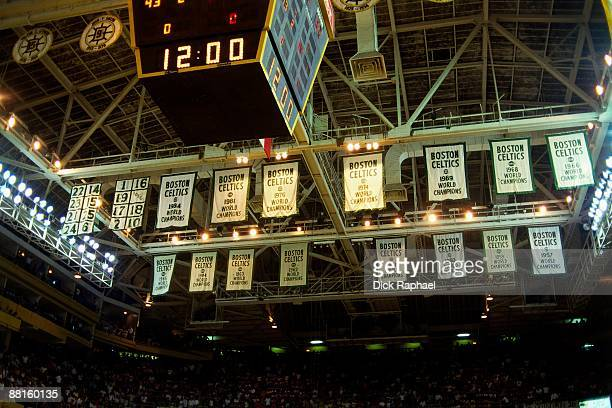 A close up look at the championship banners that hang from the rafters during Game Six of the 1986 NBA Finals at the Boston Garden played on June 8...