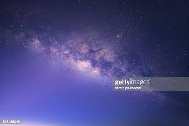 Close up milky Way ,milky way galaxy . Long exposure photograph with grain.