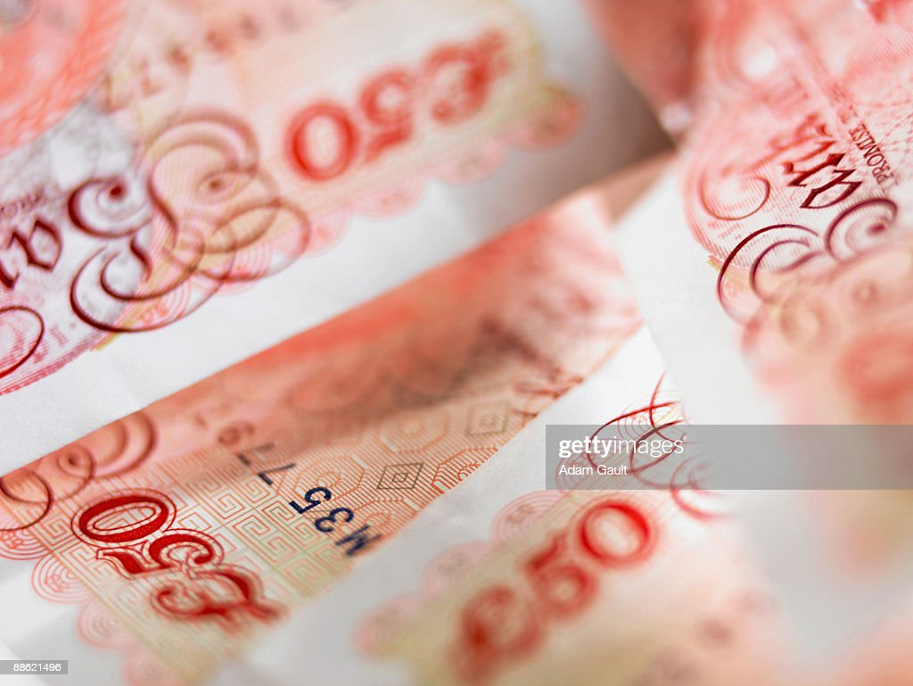 Close up of 50 pound notes : Stock Photo