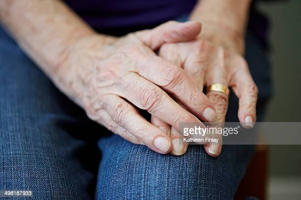 Close up of 82 year old senior woman's hands
