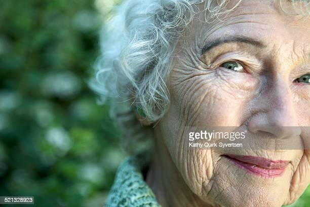 Close up of 86 year old woman