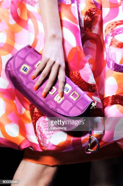 Close up of a bag carried by a model walking the runway wearing Christian Dior at the Fall/Winter 2008/2009 collection during Paris Fashion Week on...