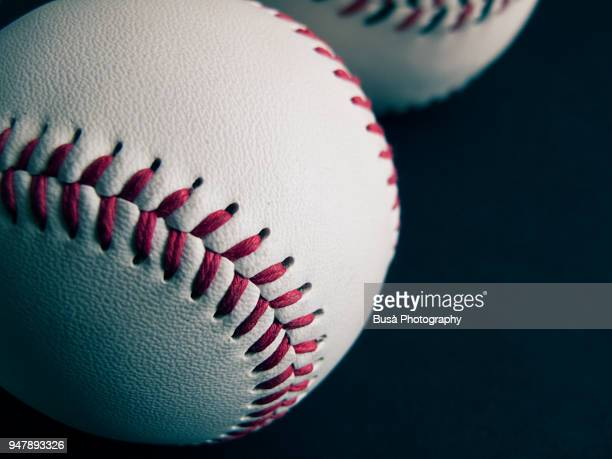 close up of a baseball ball - baseball trajectory stock photos and pictures