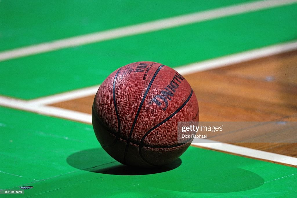 A close up of a basketball during a game played in 1990 at the Boston Garden in Boston, Massachusetts.