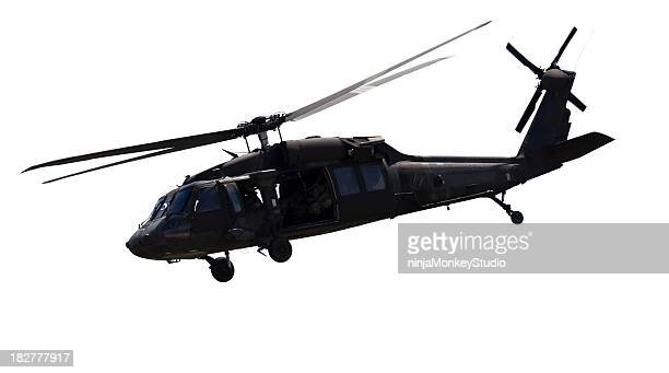 Close up of a black military helicopter