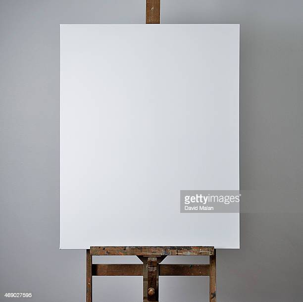 Close up of a blank canvas on an easel
