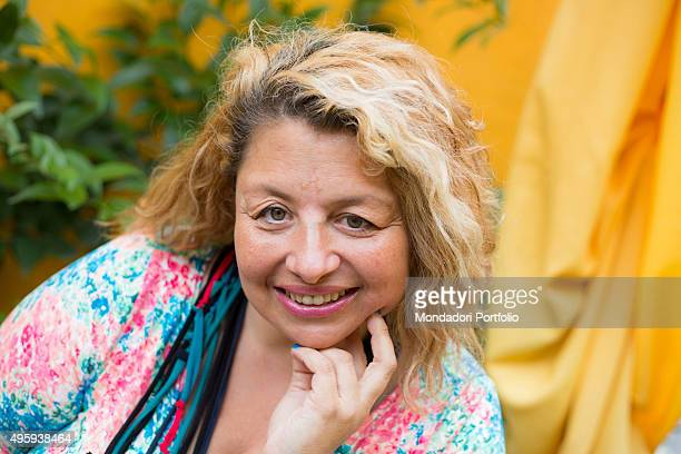 Close up of a blonde smiling woman Milan Italy 26th July 2014