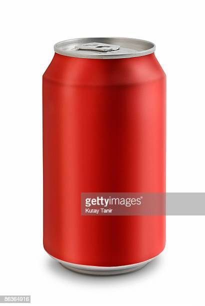 Close up of a cola can, isolated on white.