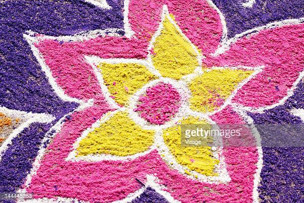 Close up of a colourful rangoli