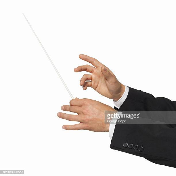 close up of a conductor's hands