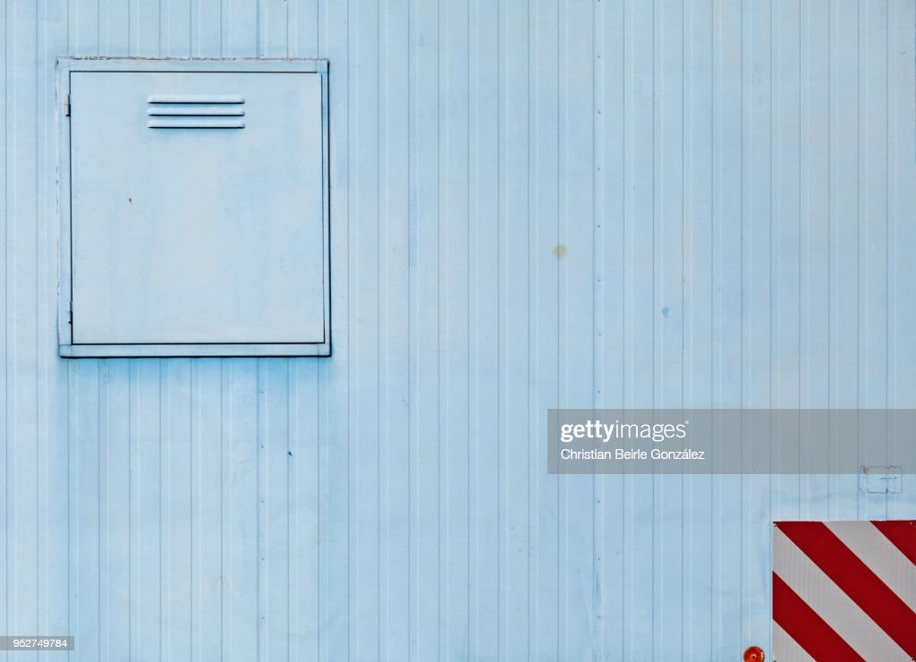 Close Up of a Construction Trailer in Blue : Stock Photo