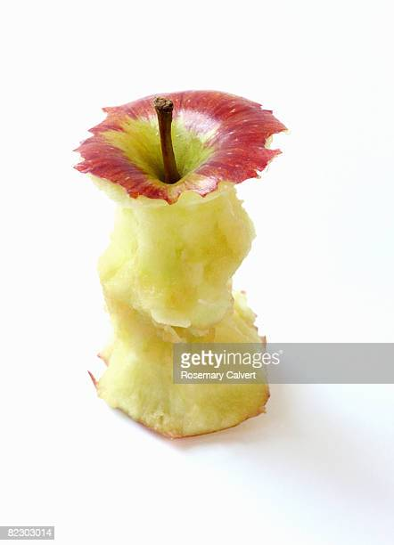 Close up of a core of a red apple