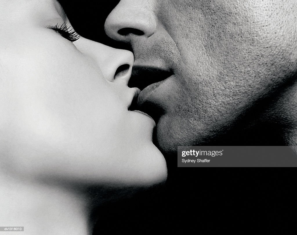 Close up of a Couple Kissing : Stock Photo