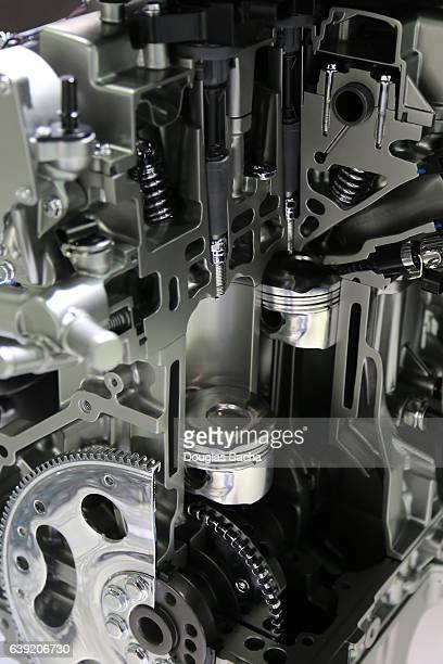 Close up of a cut away Vehicle Engine