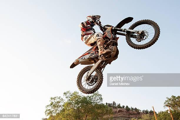 close up of a dirt bike motocross jump. - オートバイ競技 ストックフォトと画像