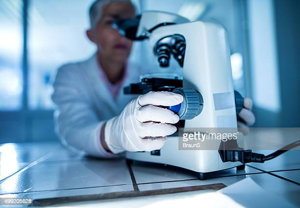 Close up of a doctor using microscope in laboratory.