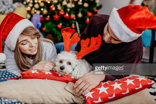 Close up of a dog with reindeer ears and couple wearing Santa's hats. New year's eve.