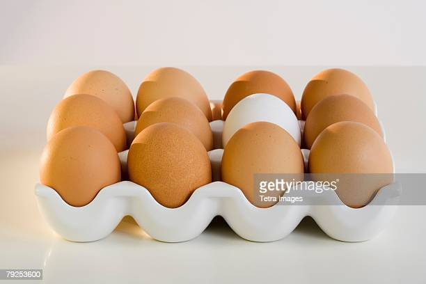 Close up of a dozen eggs