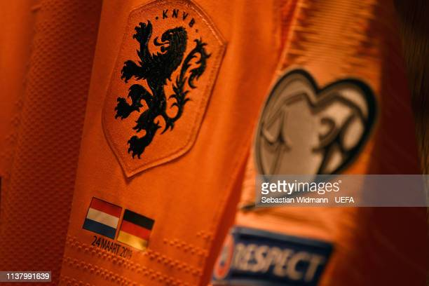 Close up of a dutch jersey is seen prior to the 2020 UEFA European Championships group C qualifying match between Netherlands and Germany at Johan...