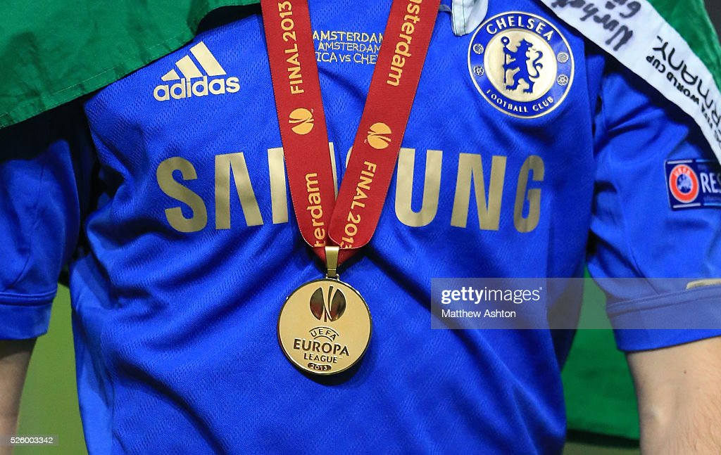 Close up of a Europa League 2013 winners medal and a Chelsea