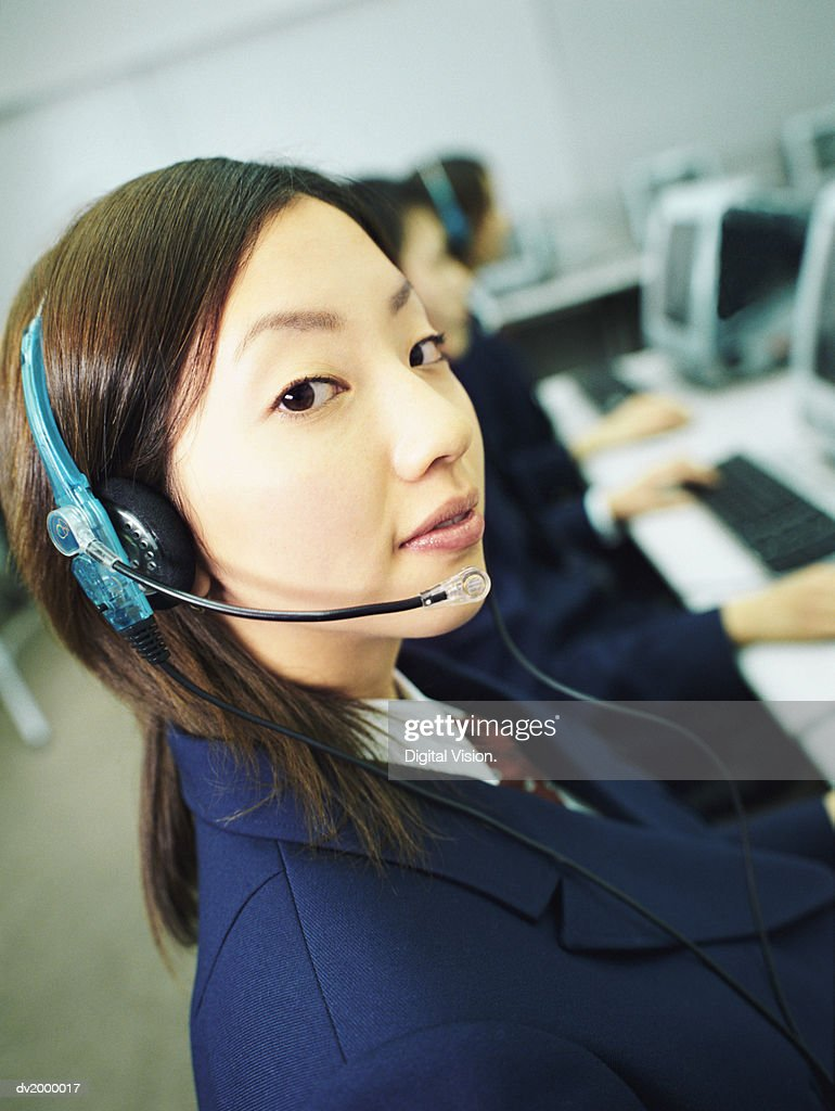 Close up of a Female High School Student Wearing a Headset : Stock Photo