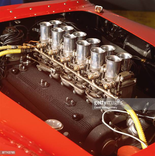 A close up of a Ferrari V12 engine belonging to racetrack owner and Ferrari collector Pierre Bardinon 24th May 1995