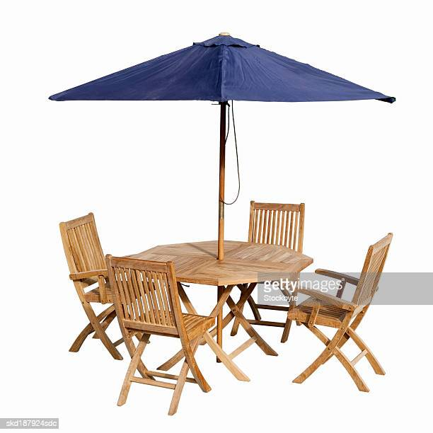 Close up of a garden table and chairs and an umbrella