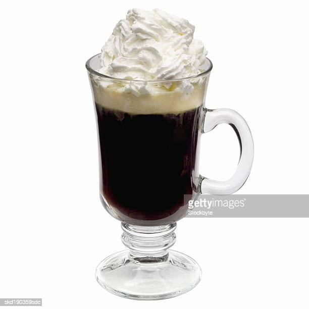 Close up of a glass of Irish coffee
