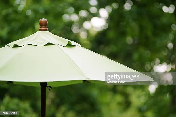 Close up of a green outdoor patio umbrella
