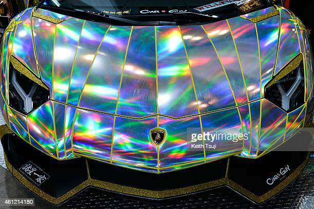 A close up of a Holographic Lamborghini Aventador is seen at the Tokyo Auto Salon 2015 at Makuhari Messe on January 9 2015 in Chiba Japan
