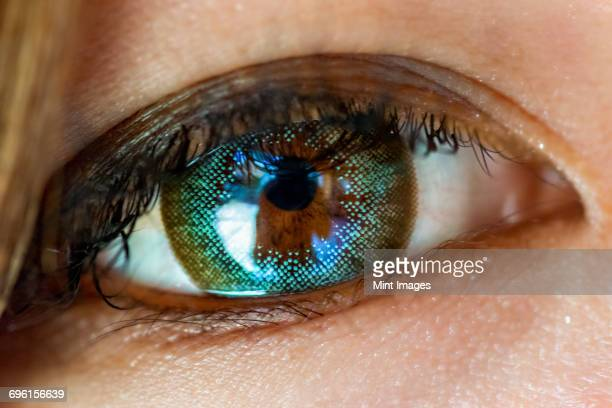 A close up of a human eye, with a content lens in place. A reflection of an object or scene in the lens.