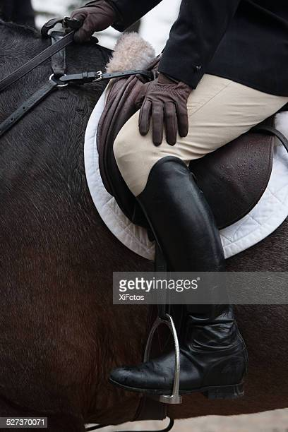 close up of a huntsman ready for fox hunt - riding boot stock pictures, royalty-free photos & images
